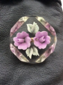 Floral  Vintage Brooch - 1950 Lucite - Pair of Purple Flowers Pin (Sold)